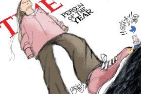 دختری که ترامپ را له کرد(کاریکاتور)